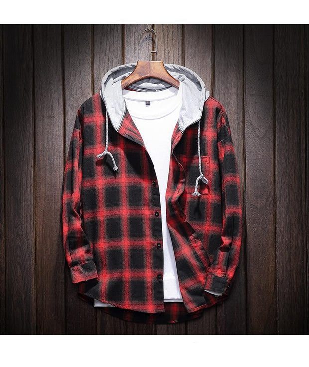 West Louis™ Plaid Casual Hooded Shirt Red / XXXL - West Louis