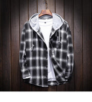 West Louis™ Plaid Casual Hooded Shirt Black / XXXL - West Louis
