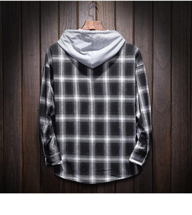 West Louis™ Plaid Casual Hooded Shirt  - West Louis