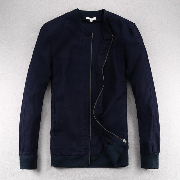 West Louis™ Linen Thin Loose Solid Jacket Navy Blue / S - West Louis