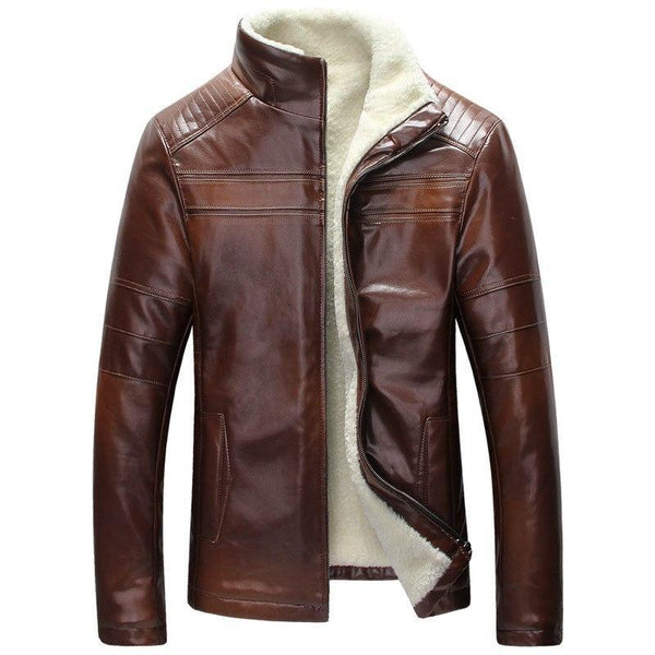 West Louis™ Inside Fleece Lining Leather Jacket