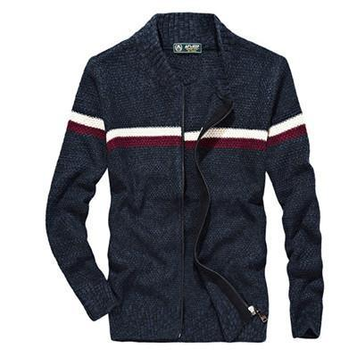 West Louis™ Knitted Wear Casual Baseball Collar Cardigan Blue / M - West Louis
