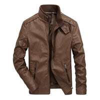 West Louis™ Classical Motorcycle Men Leather Jacket Brown / M - West Louis