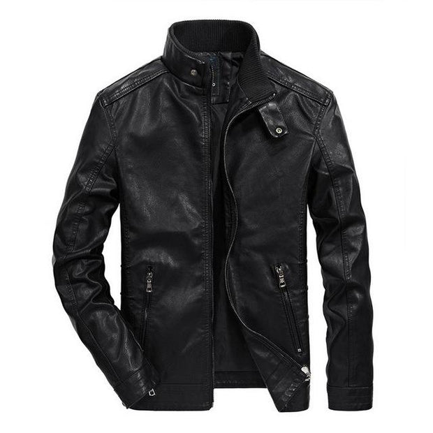 West Louis™ Classical Motorcycle Men Leather Jacket Black / M - West Louis