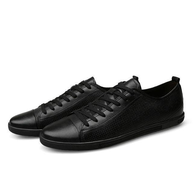 West Louis™ Genuine Leather Breathable Comfortable Shoes Hollow Black / 11 - West Louis