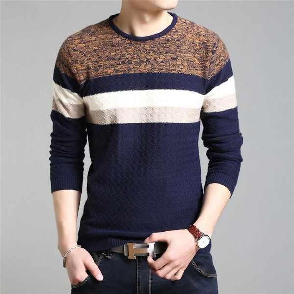 West Louis™ O Neck Striped Pullover
