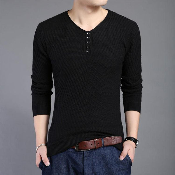 West Louis™ Solid V Neck Slim Fit Pullover - West Louis, Top of the line Men Pullover