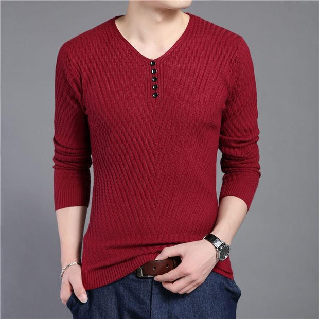 West Louis™ Solid V Neck Slim Fit Pullover Red / S - West Louis