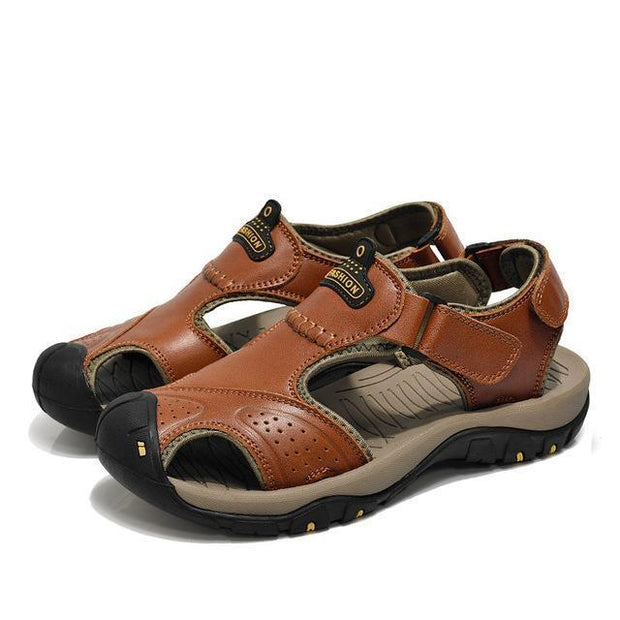 West Louis™ Genuine Leather Summer Sandals Brown / 6.5 - West Louis