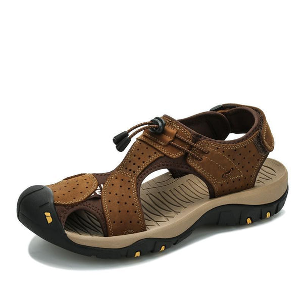 West Louis™ High Quality Genuine Leather Men Sandals  - West Louis