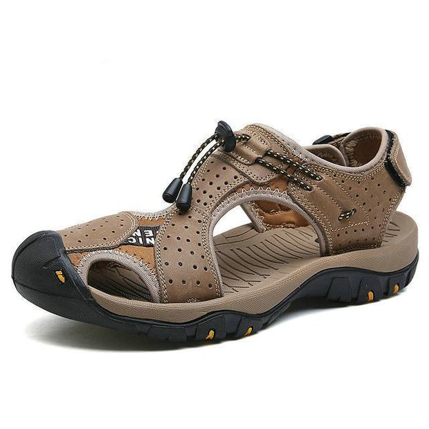 West Louis™ High Quality Genuine Leather Men Sandals Khaki / 10 - West Louis