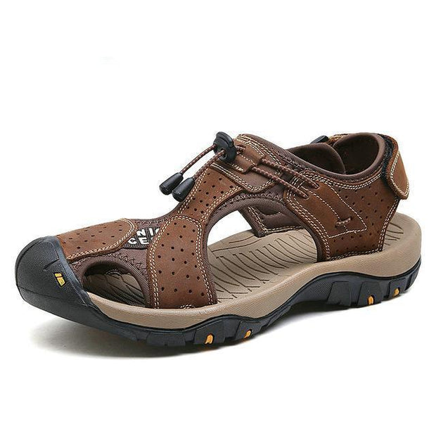 West Louis™ High Quality Genuine Leather Men Sandals Dark Brown / 10 - West Louis