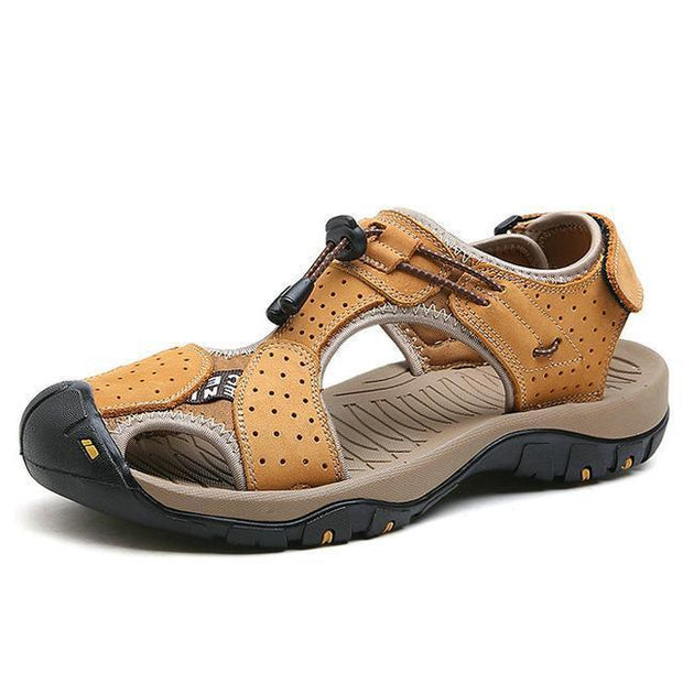 West Louis™ High Quality Genuine Leather Men Sandals Yellow Brown / 10 - West Louis