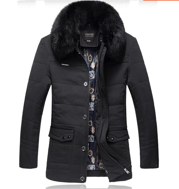 West Louis™ Thick High Quality Down Cotton Fur Jacket navy blue / L - West Louis