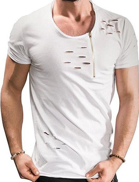 West Louis™ Summer Ripped Hole T-shirts White / M - West Louis