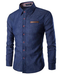 West Louis™ Business Luxury Cotton Shirt Dark blue / M - West Louis