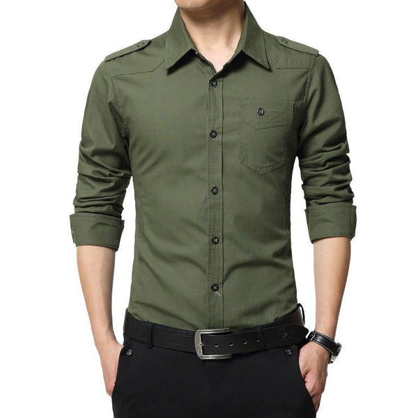 West Louis™ Full Sleeve Epaulet Shirt Green / XS - West Louis