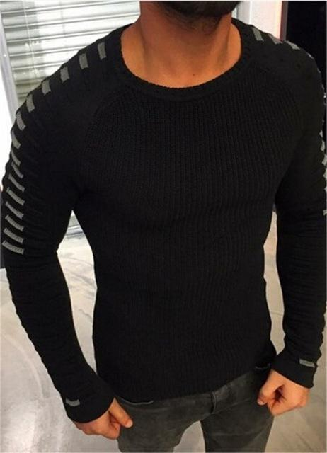 West Louis™  Round Neck Patchwork Quality Knitted Pullover Black / L - West Louis