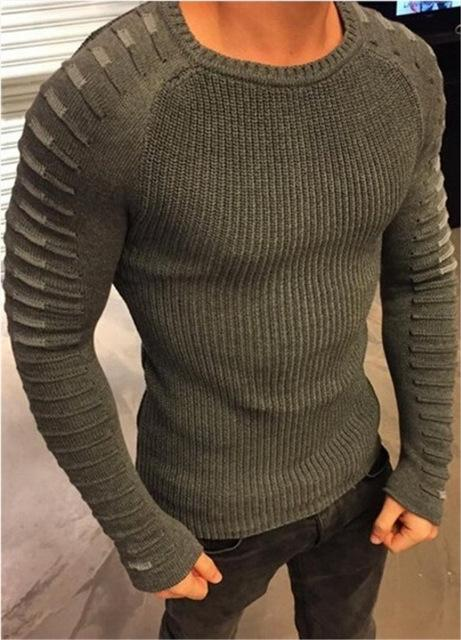 West Louis™  Round Neck Patchwork Quality Knitted Pullover Green / L - West Louis