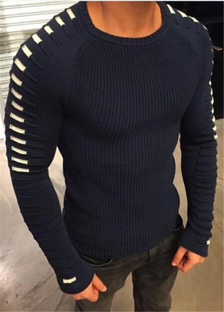 West Louis™  Round Neck Patchwork Quality Knitted Pullover Navy Blue / L - West Louis