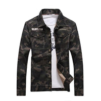 West Louis™ Denim Camouflage Windbreaker Outerwear Jacket
