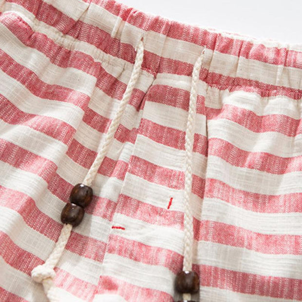 West Louis™ Cotton Linen Stripe Shorts  - West Louis