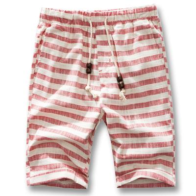 West Louis™ Cotton Linen Stripe Shorts Red / L - West Louis
