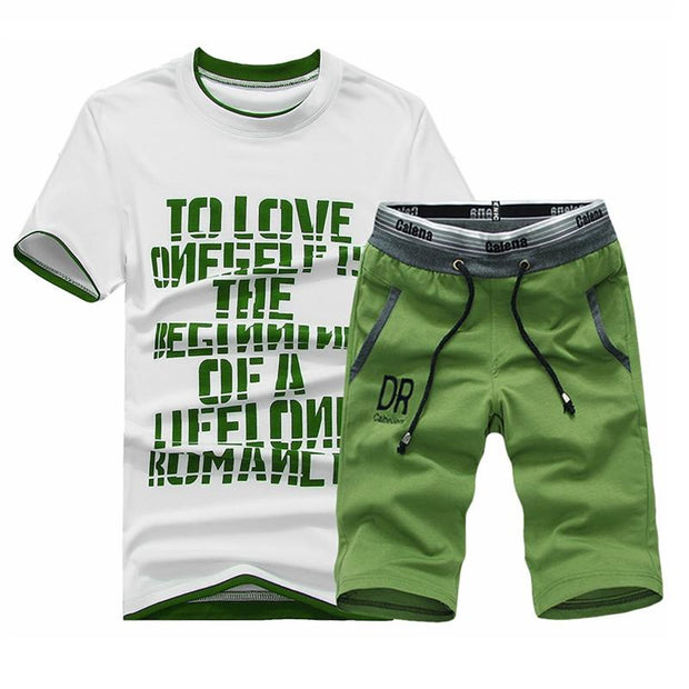 West Louis™ Summer Shirt/Shorts Cotton Set Green Set / XS - West Louis