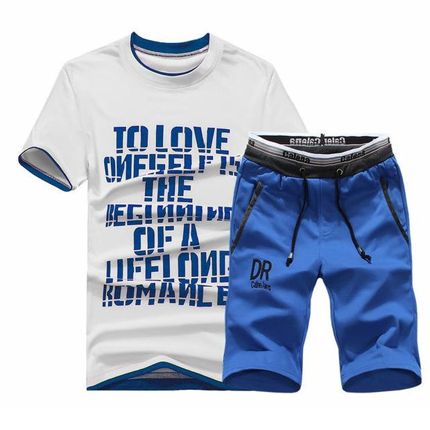 West Louis™ Summer Shirt/Shorts Cotton Set Blue Set / XS - West Louis