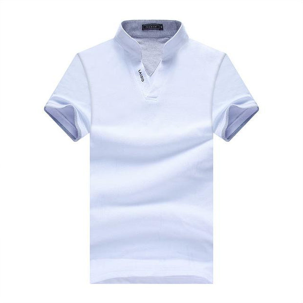 West Louis™ Summer Short Sleeved Turn Down Collar Polo Shirt White / XL - West Louis