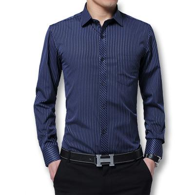 West Louis™ Fashion Slim Fitted Turn Down Dress Shirt Dark Blue / XXXL - West Louis
