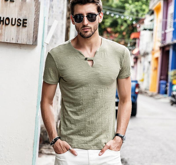 West Louis™ Fashion V-neck Collar Summer T-Shirt