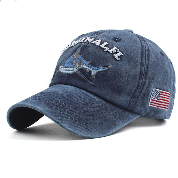 West Louis™ Washed Cotton Baseball Cap Deep Blue / One Size - West Louis