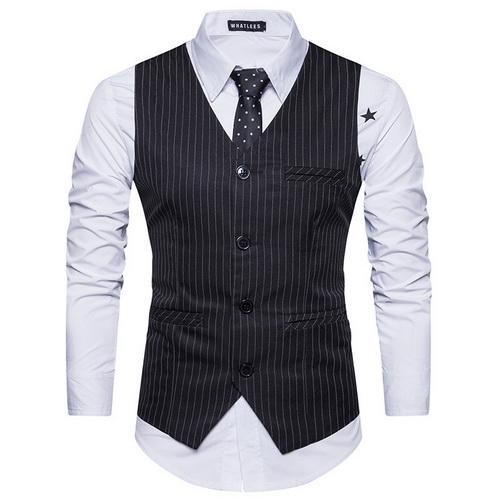 West Louis™  England Style Stripe Formal Vest Black / S - West Louis