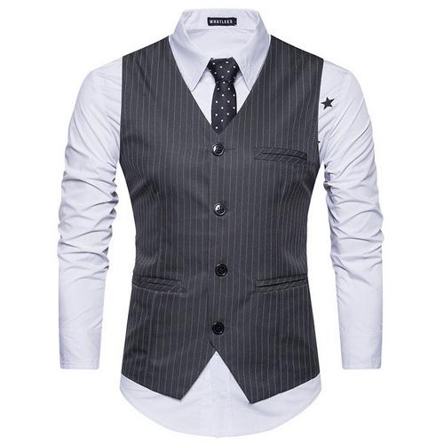 West Louis™  England Style Stripe Formal Vest Gray / S - West Louis