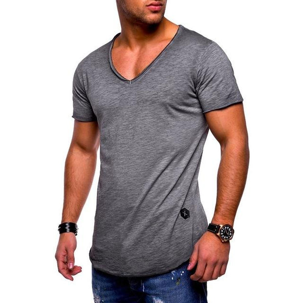 West Louis™  Deep V-Neck Brand T-Shirt Gray / L - West Louis