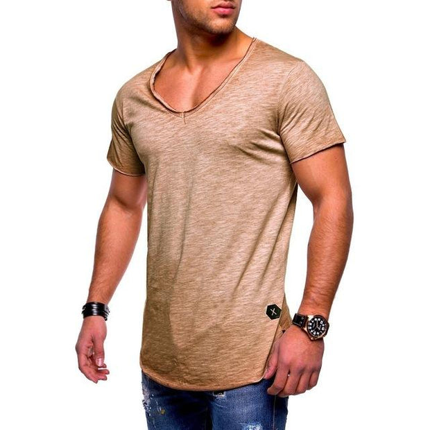 West Louis™  Deep V-Neck Brand T-Shirt Yellow / L - West Louis