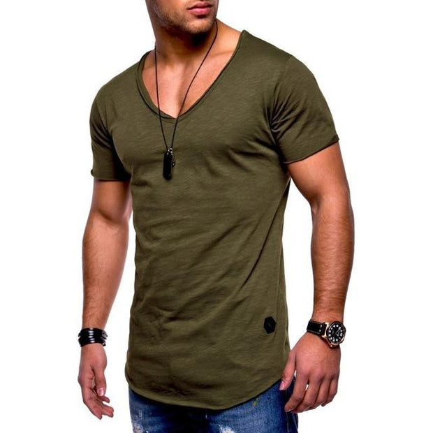 West Louis™  Deep V-Neck Brand T-Shirt Green / L - West Louis