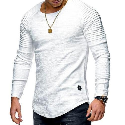 West Louis™ Fold Long Sleeves Hombre T-Shirt White / M - West Louis