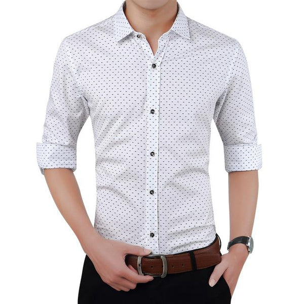 West Louis™ Designer Polka Dot Dress Shirts white / XS - West Louis
