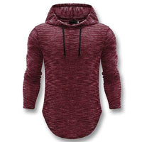 West Louis™ Autumn Long Hooded Shirt Wine Red / L - West Louis
