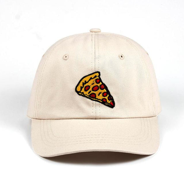West Louis™ Pizza Embroidery Baseball Cap Beige - West Louis