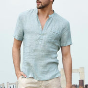 West Louis™ Short Sleeve Henley Collar Shirts Light Blue / S - West Louis