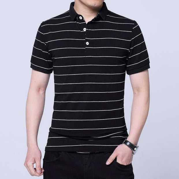 West Louis™ Brand Summer Stripped Polo Shirt Black / M - West Louis
