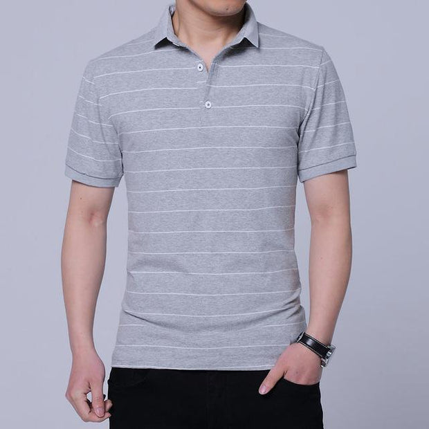 West Louis™ Brand Summer Stripped Polo Shirt Gray / M - West Louis
