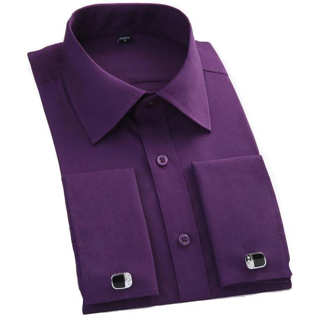 West Louis™ French Cufflinks Shirts Dark Purple / S - West Louis