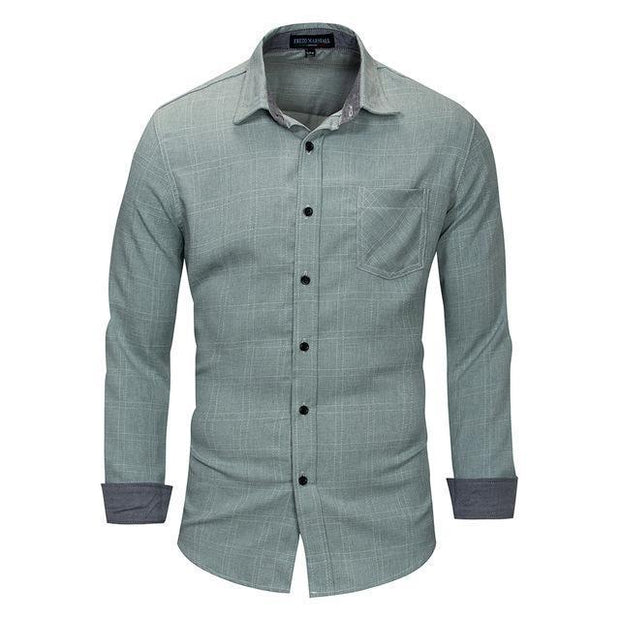 West Louis™ 100% Cotton Plain Plaid Shirt Light Green / S - West Louis