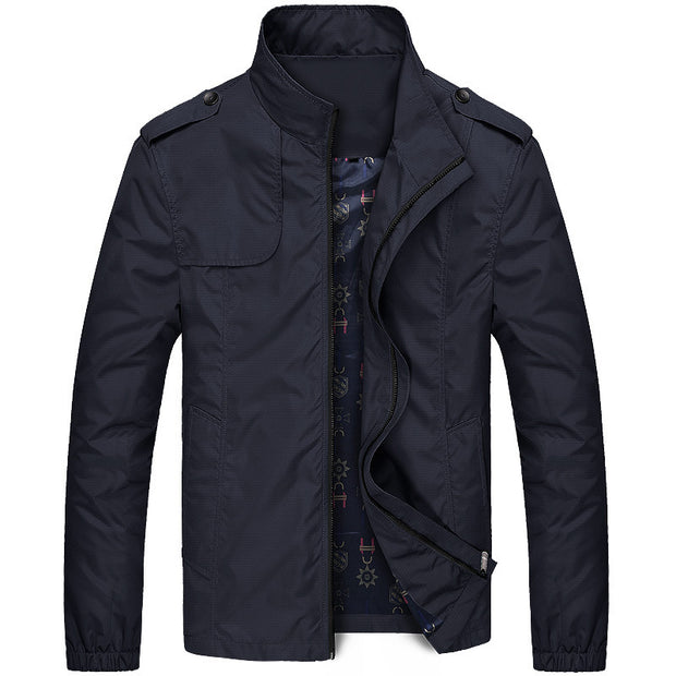 West Louis™ Autumn Solid Stand Collar Windproof Jacket
