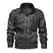 West Louis™ Branded Military Leather Jacket