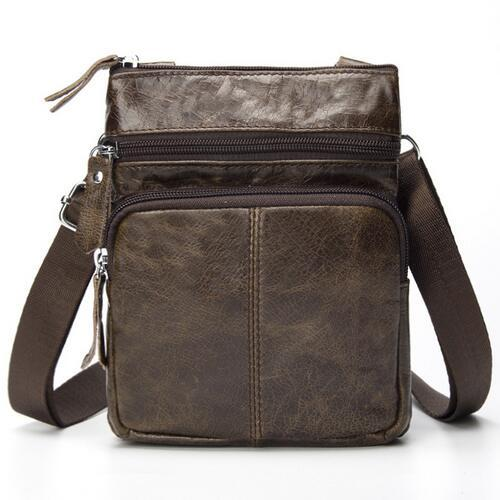 West Louis™ Crossbody Leather Shoulder Bag Light Brown - West Louis